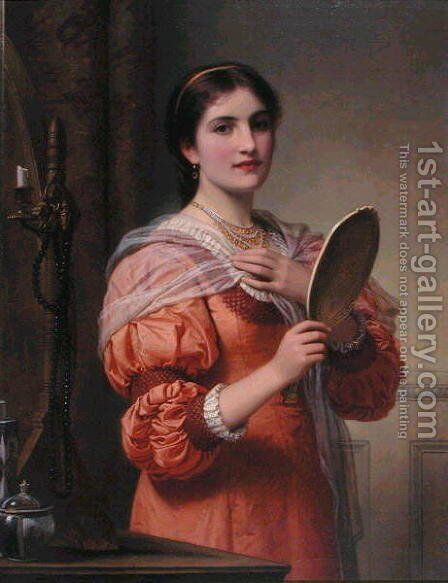 A Fair Reflection by Charles E. Perugini - Reproduction Oil Painting