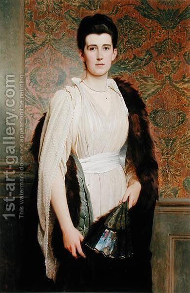 Portrait of a Woman by Charles E. Perugini - Reproduction Oil Painting