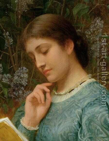 Girl Reading 2 by Charles E. Perugini - Reproduction Oil Painting