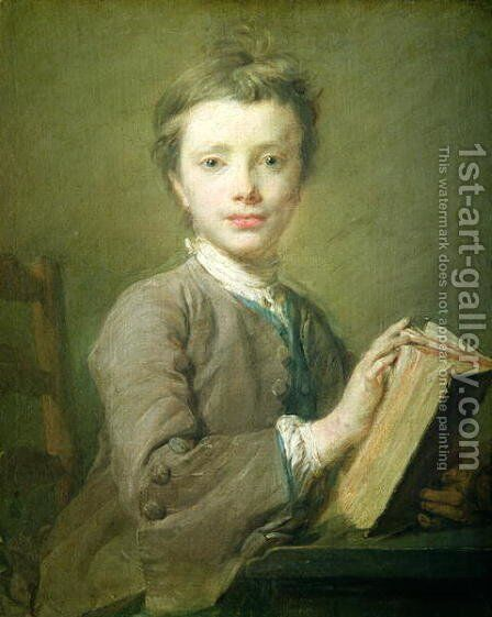 A Boy with a Book, c.1740 by Jean-Baptiste Perroneau - Reproduction Oil Painting