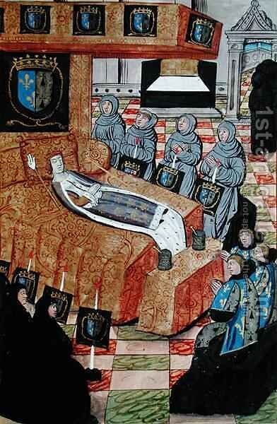 Fol.12r The Duchess Queen on her deathbed, from the Account of the Funeral of Anne of Brittany by Jean Perreal - Reproduction Oil Painting