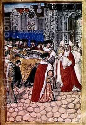 he Arrival of the Body of the Duchess Queen and the reception by Cardinal Philip of Luxembourg, from the Account of the Funeral of Anne of Brittany by Jean Perreal - Reproduction Oil Painting