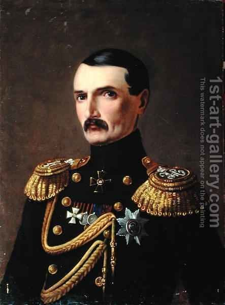 Portrait of Admiral V.A. Kornilov 1806-1854, Hero of Crimea by A.F. Permyakov - Reproduction Oil Painting