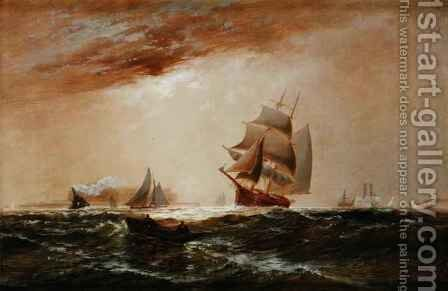 Ships in New York Harbour, 1891 by Granville Perklins - Reproduction Oil Painting