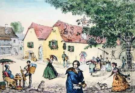 Heiligenstadt Testament House in Vienna where Beethoven stayed in an attempt to cure his deafness by (after) Perger - Reproduction Oil Painting
