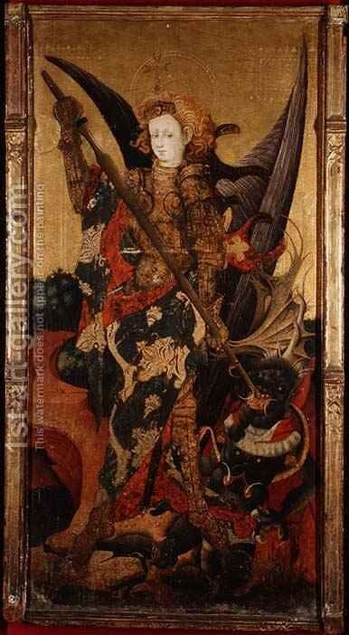 St. Michael Killing the Dragon or Vanquishing the Devil, early 15th century by Gonzalo Perez - Reproduction Oil Painting