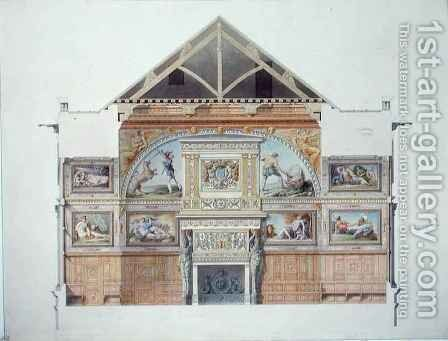 Ms 1014 Elevation of the ballroom at Fontainebleau, plate from an album by Charles Percier - Reproduction Oil Painting
