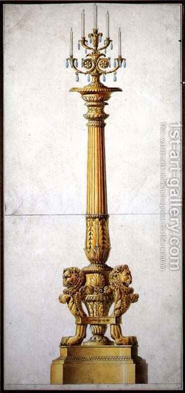 Design for a Neo-Classical Candelabra, c.1820 by Charles Percier - Reproduction Oil Painting