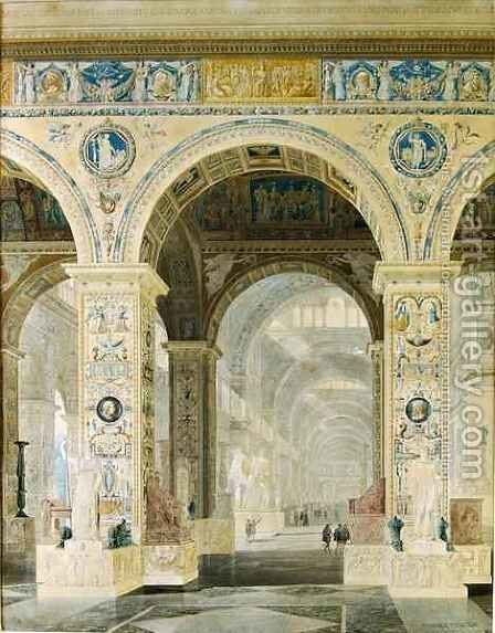 Interior View of the Louvre by Charles Percier - Reproduction Oil Painting