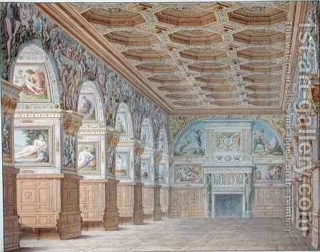 Ms 1014 The ballroom at Fontainebleau, plate from an album by Charles Percier - Reproduction Oil Painting