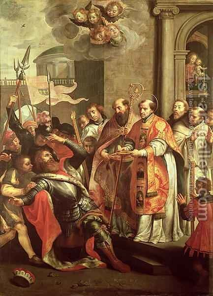 St. Bernard of Clairvaux 1090-1153 and William X 1099-1137 Duke of Aquitaine by Martin Pepyn or Pepin - Reproduction Oil Painting