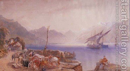 On an Italian Lakeshore by Aaron Edwin Penley - Reproduction Oil Painting