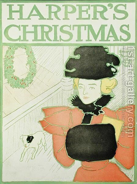 Harpers Christmas, 1890 by Edward Penfield - Reproduction Oil Painting