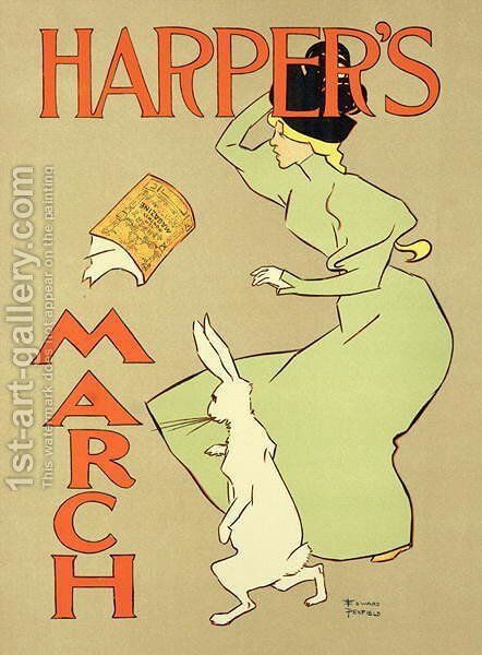 Reproduction of a poster advertising Harpers Magazine, March edition, American, 1894 by Edward Penfield - Reproduction Oil Painting