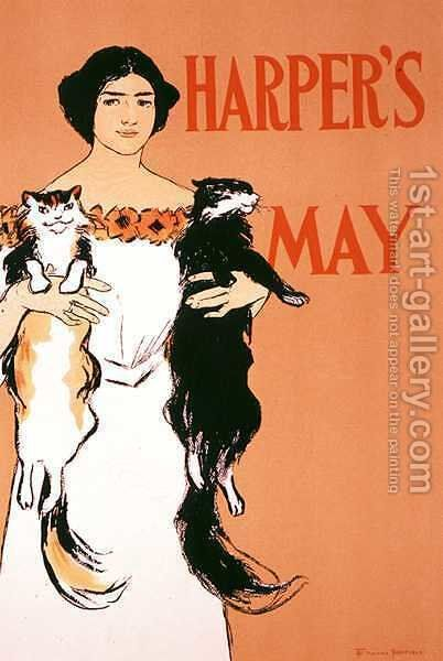 Reproduction of a poster advertising the May Issue of Harpers Magazine, 1897 by Edward Penfield - Reproduction Oil Painting