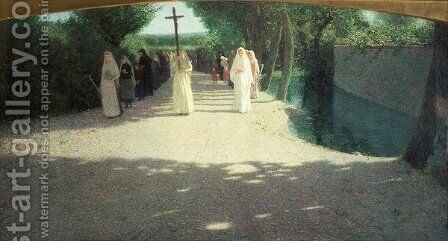 The Procession, 1892-95 by Giuseppe Pellizza da Volpedo - Reproduction Oil Painting