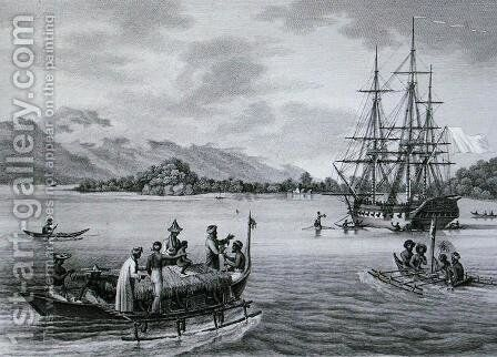 The Papous Islands View of the Uranie Moored by the Island of Rawak, from Voyage Autour du Monde sur les Corvettes de LUranie 1817-20 engraved by Niquet, published 1825 by (after) Pellion, Alphonse - Reproduction Oil Painting