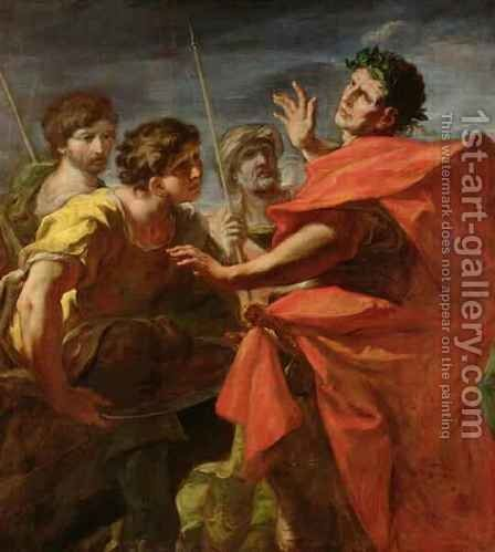 The Head of Pompey 106-48 BC Presented to Caesar 100-44 BC by Giovanni Antonio Pellegrini - Reproduction Oil Painting