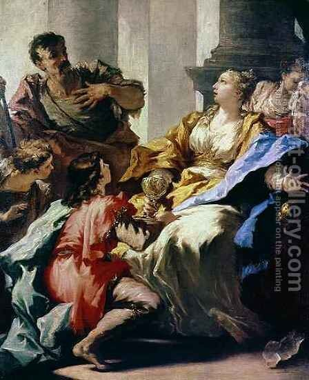 Sophonisba Receiving Poison by Giovanni Antonio Pellegrini - Reproduction Oil Painting