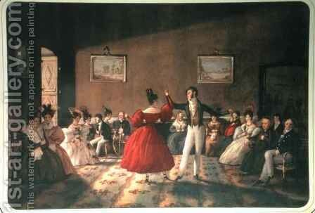 Dance in a Salon in Buenos Aires, c.1831 by Domenico Pellegrini - Reproduction Oil Painting