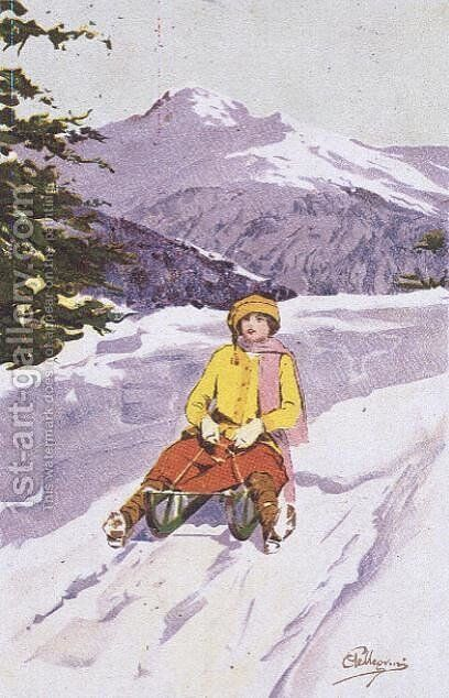 Young Woman Tobogganing by Carlo Pellegrini - Reproduction Oil Painting