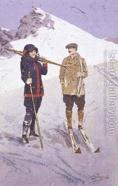 Skiers at Adelboden by Carlo Pellegrini - Reproduction Oil Painting