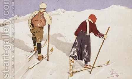Cross-country skiers by Carlo Pellegrini - Reproduction Oil Painting