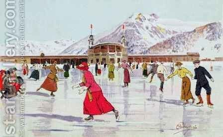 The Skating Rink in Davos, Switzerland by Carlo Pellegrini - Reproduction Oil Painting