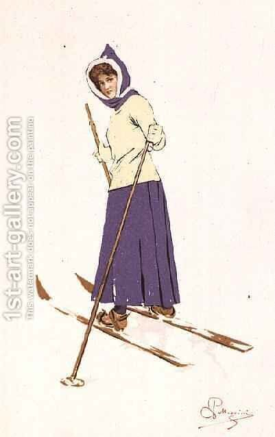 Woman turning on skis by Carlo Pellegrini - Reproduction Oil Painting