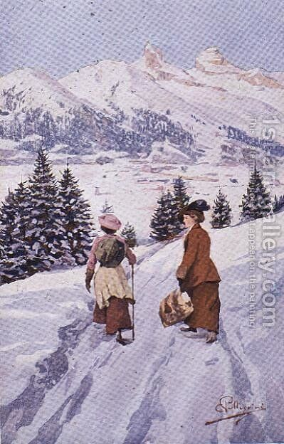 Two women walking in the snow near Tour dAi by Carlo Pellegrini - Reproduction Oil Painting