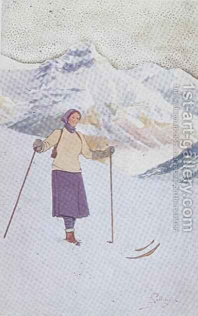 Skier on the Slopes of Engelberg, Switzerland by Carlo Pellegrini - Reproduction Oil Painting