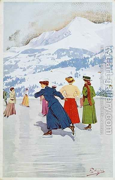 Skating rink in Montana by Carlo Pellegrini - Reproduction Oil Painting