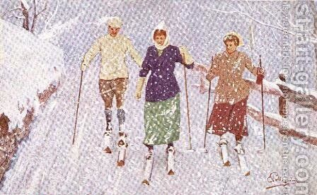 Three Skiers in a Snowstorm by Carlo Pellegrini - Reproduction Oil Painting