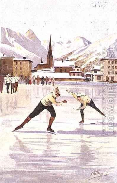 Skaters racing on the ice rink at Davos, Switzerland by Carlo Pellegrini - Reproduction Oil Painting