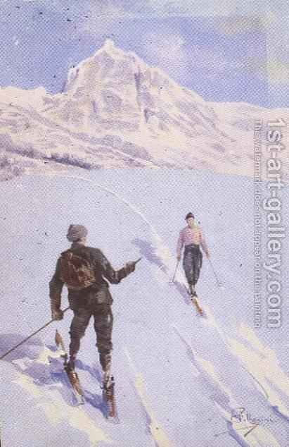 Skiers on Mt. Rose, Switzerland by Carlo Pellegrini - Reproduction Oil Painting