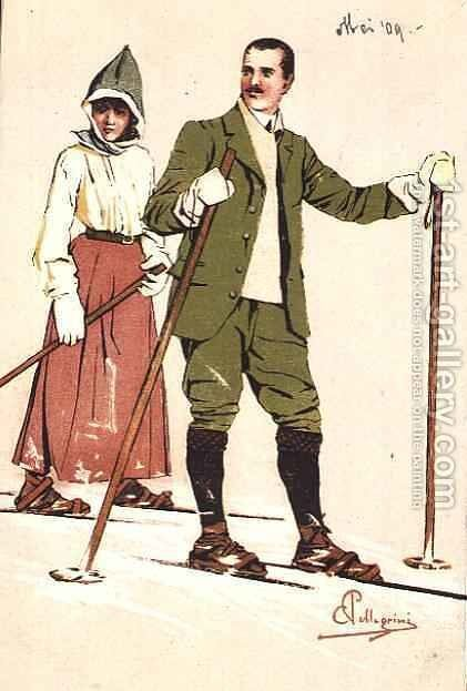 Two Skiers, 1909 by Carlo Pellegrini - Reproduction Oil Painting
