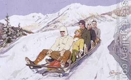 Tobogganers at Davos, Switzerland by Carlo Pellegrini - Reproduction Oil Painting