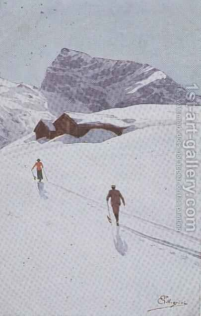 Walking in the Mountains near Engelberg, Switzerland by Carlo Pellegrini - Reproduction Oil Painting