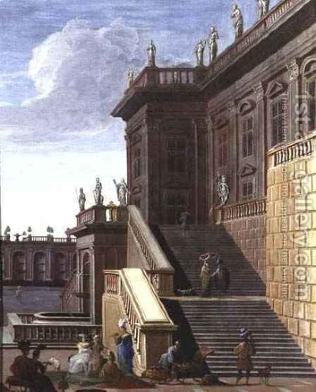 The Courtyard of a Baroque Palace by Jacob Balthasar Peeters - Reproduction Oil Painting