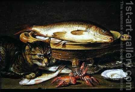 A still life with carp in a ceramic colander, oysters, crayfish, roach and a cat on the ledge beneath by Clara Peeters - Reproduction Oil Painting