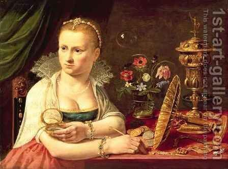 A vanitas portrait of a lady believed to be Clara Peeters by Clara Peeters - Reproduction Oil Painting