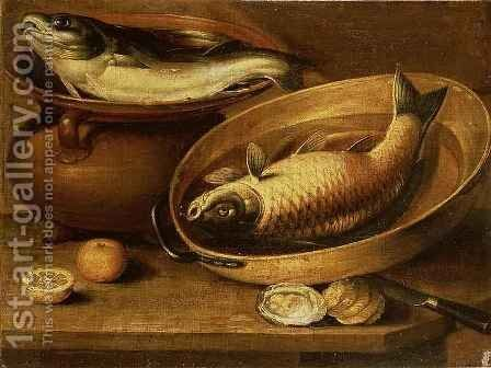 Still Life of Fish and Lemons by Clara Peeters - Reproduction Oil Painting