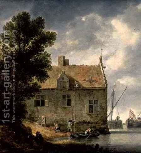 Builders repairing a House by a river by Bonaventura, the Elder Peeters - Reproduction Oil Painting