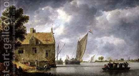 Builders Repairing a House by a River 3 by Bonaventura, the Elder Peeters - Reproduction Oil Painting