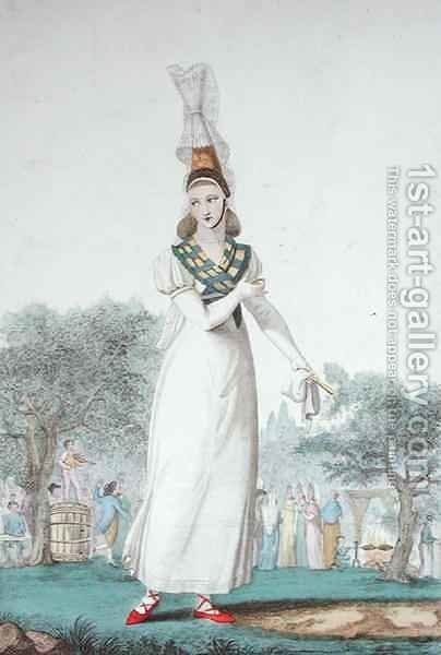 A Cauchoise in the traditional costume for feast days, engraved by Gatine c.1830 by (after) Pecheux, Benoit - Reproduction Oil Painting