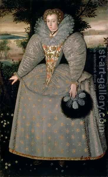 Portrait of Elizabeth Buxton nee Kemp c.1588-90 by (attr. to) Peake, Robert - Reproduction Oil Painting