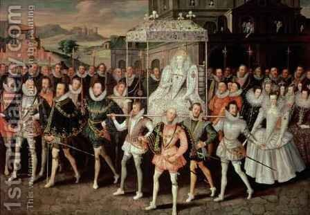 Queen Elizabeth I 1533-1603 being carried in Procession Eliza Triumphans c.1601 by (attr. to) Peake, Robert - Reproduction Oil Painting