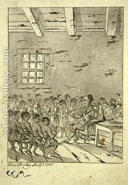 Classroom of a Native American school, 1786 by James Peachey - Reproduction Oil Painting