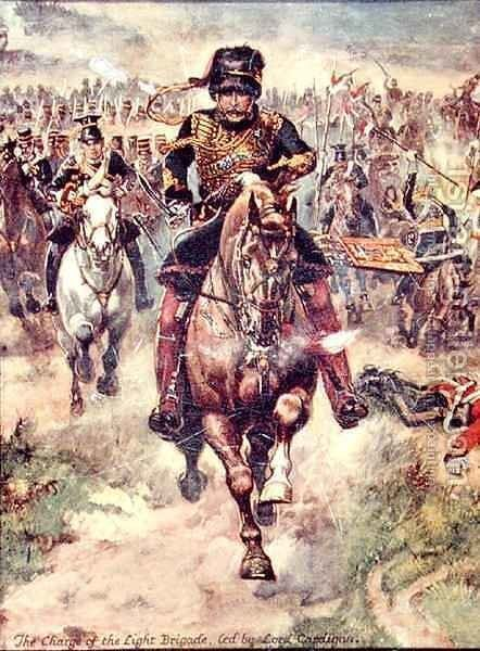 The Charge of the Light Brigade led by Lord Cardigan, illustration for Glorious Battles of English History by Major C.H. Wylly, 1920s by Henry A. (Harry) Payne - Reproduction Oil Painting