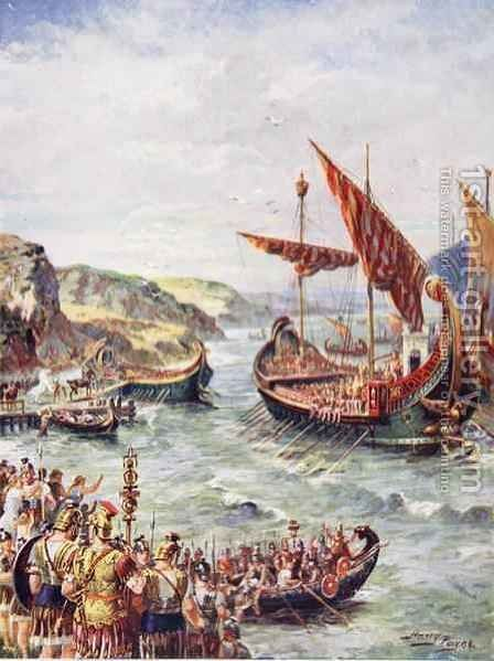 The departure of the Romans from Britain, illustration from The History of the Nation by Henry A. (Harry) Payne - Reproduction Oil Painting